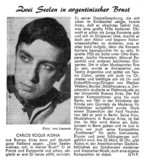 Carlos Roqué Alsina Der Kurier Berlin 1966