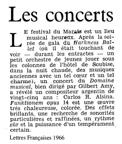 Carlos Roqué Alsina Lettres Francaises 1966
