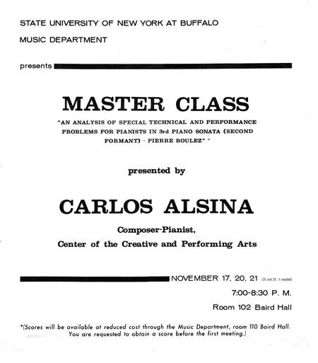 Carlos Roqué Alsina Master Class Buffalo