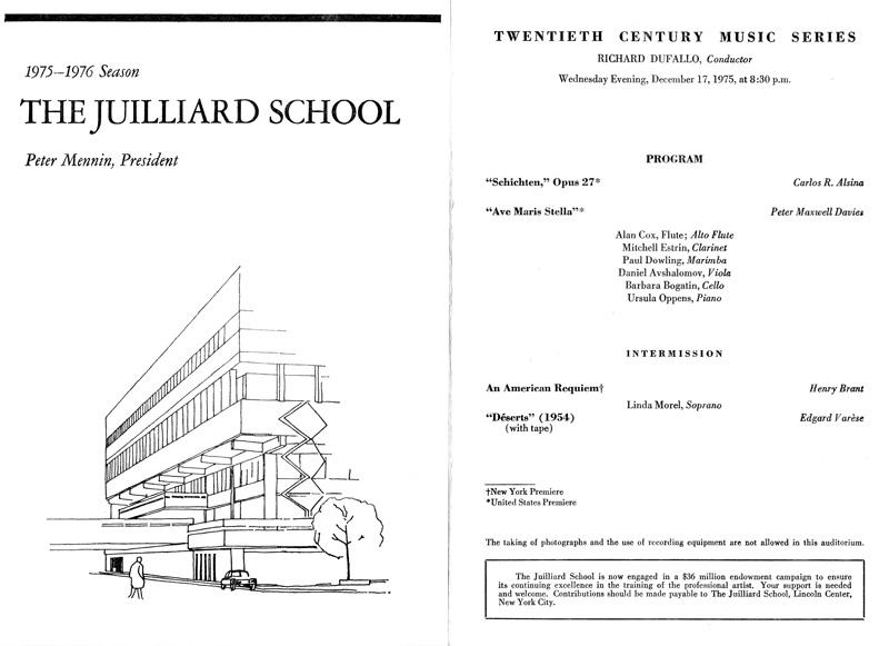 Carlos Roqué Alsina Juilliard School 1975-1976