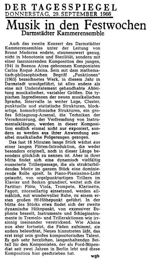 Carlos Roqué Alsina Tagesspiegel 1966