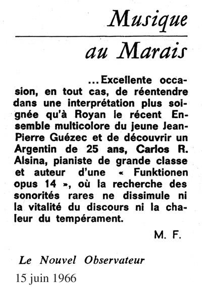 Carlos Roqué Alsina Nouvel Obs 1966