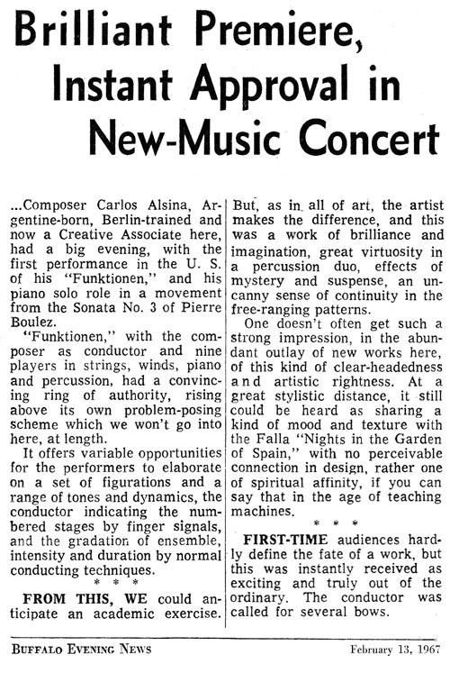Carlos Roqué Alsina Buffalo Evening News 1967