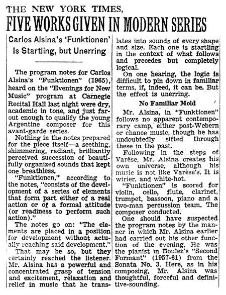 Carlos Roqué Alsina New York Times 1967