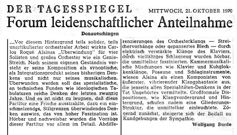 Carlos Roqué Alsina Donauesschingen Tagersspiegel 1970