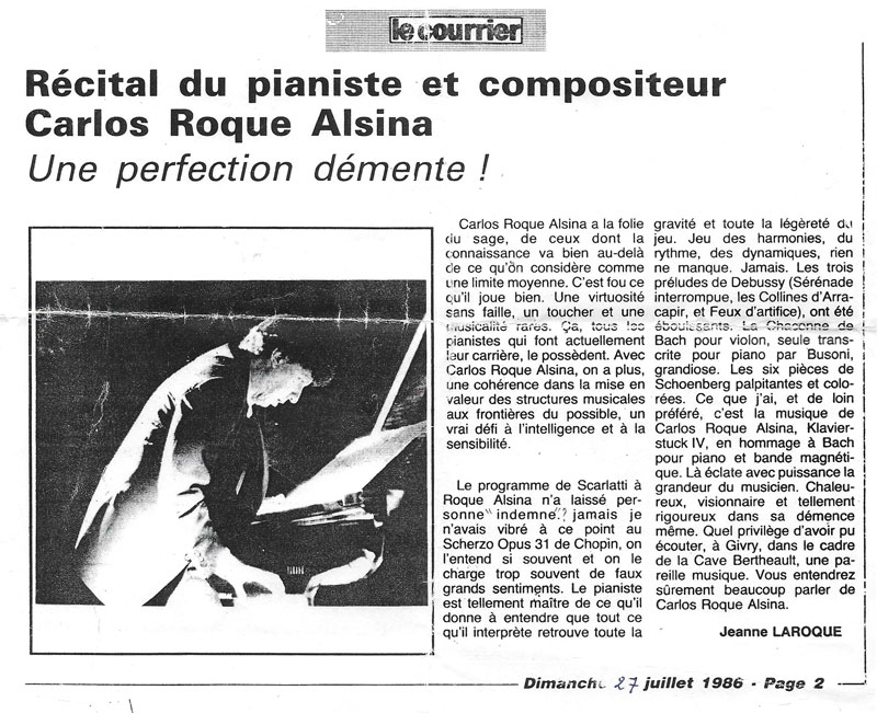 Carlos Roqué Alsina Le Courrier 1986