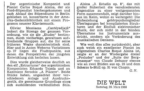 Carlos Roqué Alsina Die Welt 1966